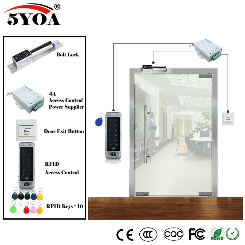 Система контроля доступа RFID DIY Kit, набор открывалки для стеклянных дверей, электронный замок для болтов, идентификационная карта, кнопка электропитания, магнитная