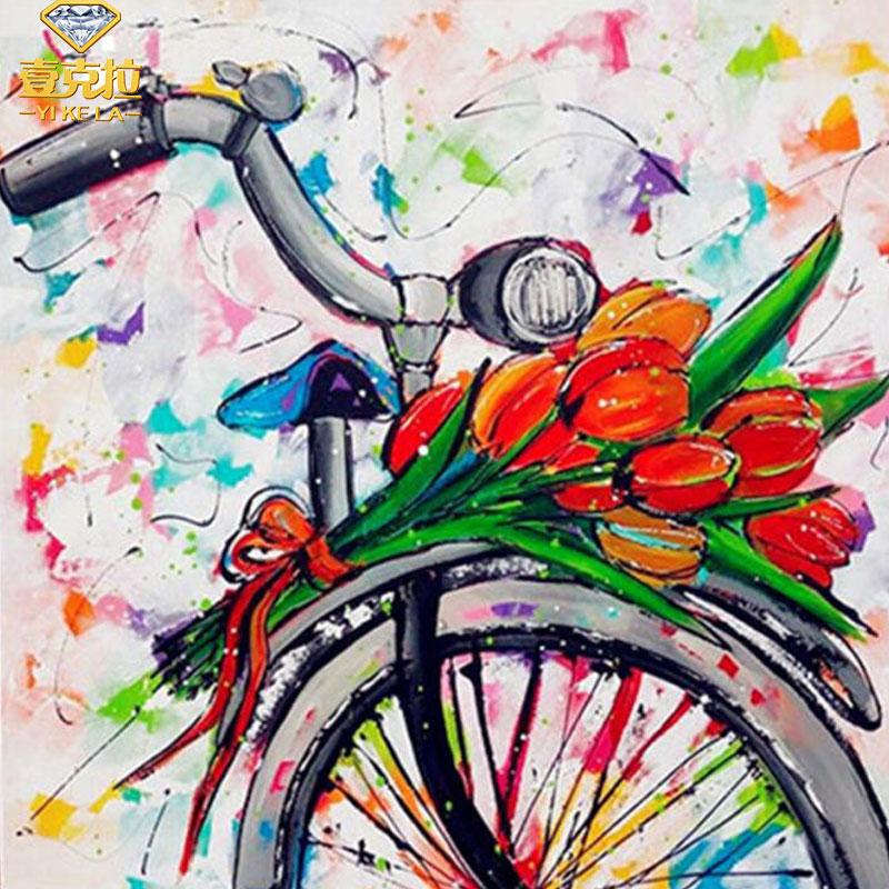 Daimond completo 5D Diy Pintura Flor/Floral 3D Diamante Pintura Acrílica Da Bicicleta/Bicicleta Pintura do Bordado Decoração Diamant