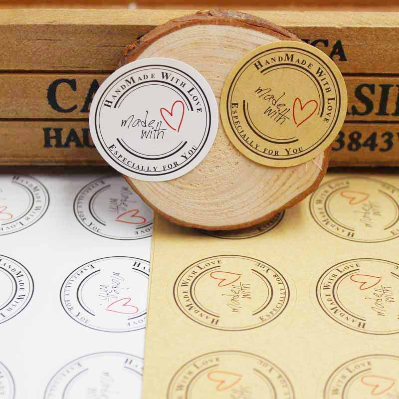 500pcs kraft handmade labels kraft/white round gift sticker labels custom logo cost extra