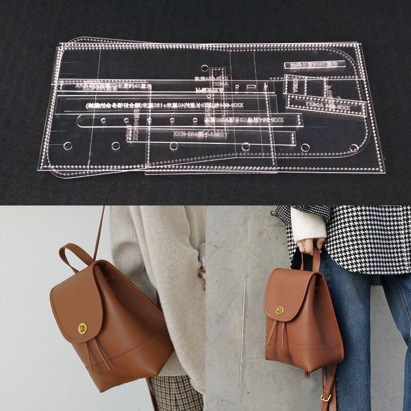 Molde de corte a laser de estêncil acrílico diy couro artesanal saco de ombro costura padrão 170x210x100mm