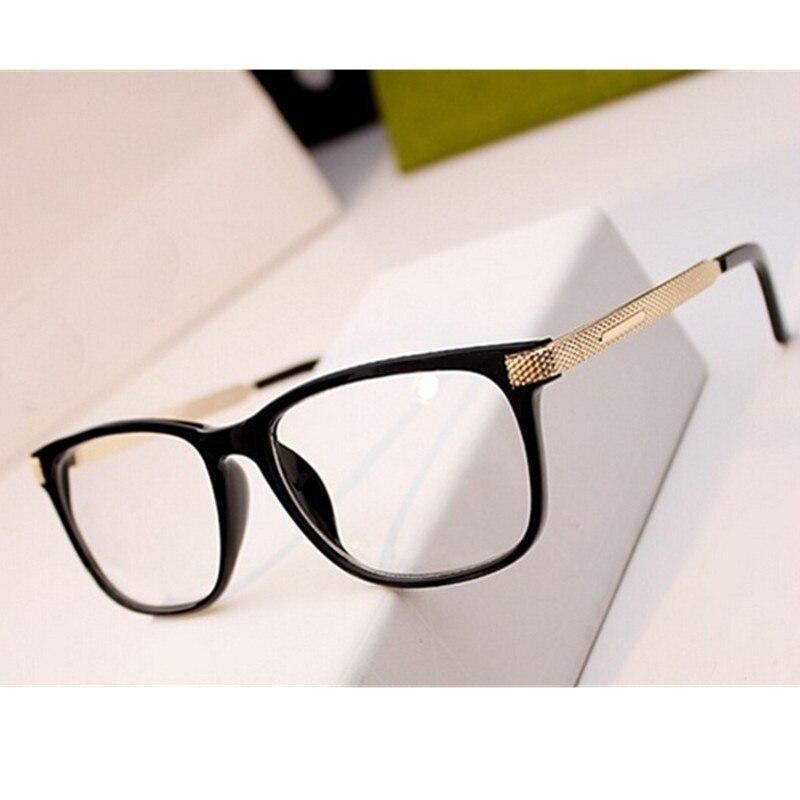 De Metal de moda gafas mujer Retro Vintage lectura Marco de anteojos miopía hombres Plaza gafas ópticas gafas transparentes gafas
