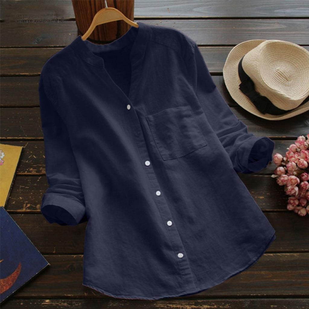 De algodón de las mujeres, blusa de lino, moda Otoño Invierno Casual...