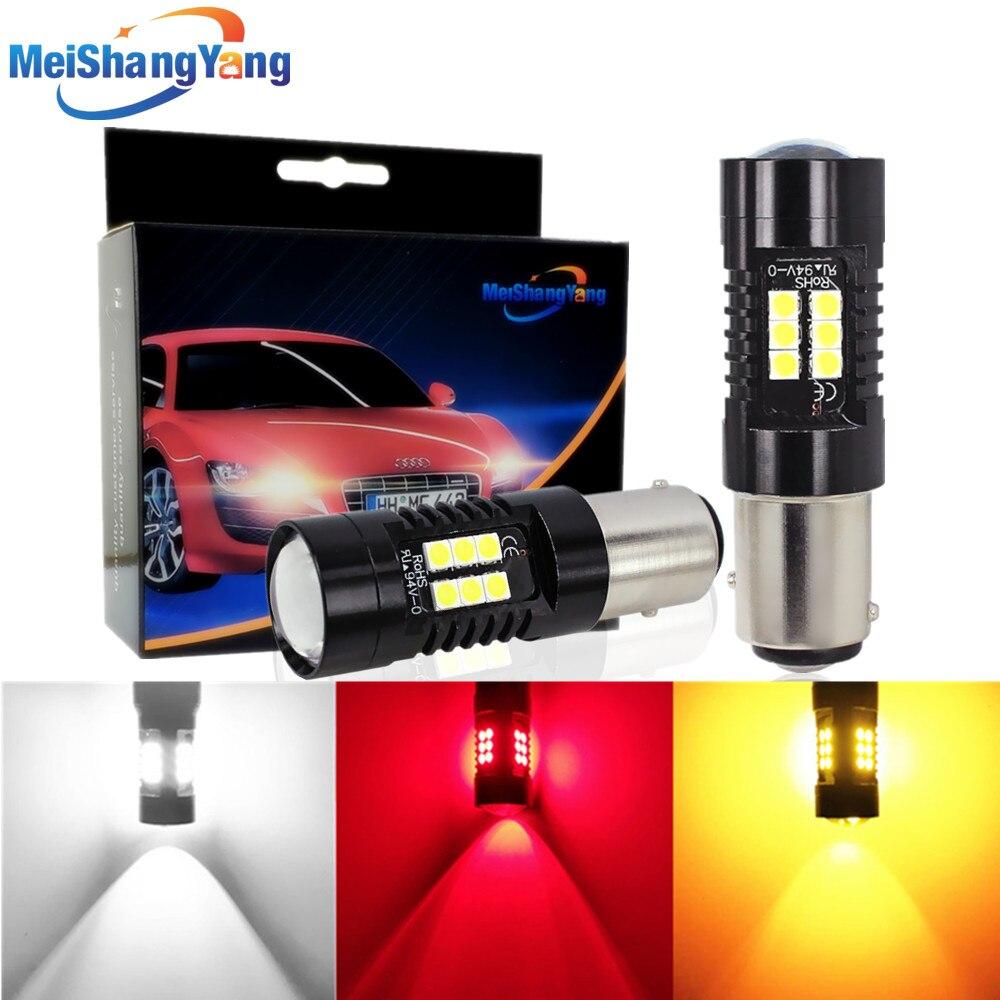 2 шт. P21/5 Вт Светодиодная лампа 1157 BAY15D LED 21 3030SMD автомобильные лампочки стоп-сигнал Автомобильная сигнальная лампа 12В 24В Белый Желтый Янтарный...