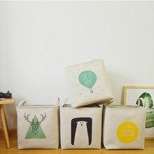 37*26*40cm Fabric Laundry Basket Antlers Printed Folding Basket for Toys Clothes Basket Organizer Nordic Style Storage Basket