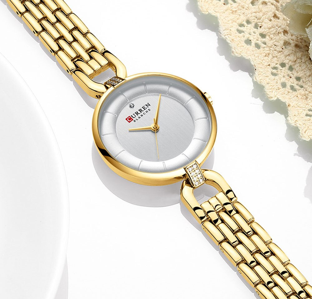 CURREN Women Quartz Watches Golden White Ultra-Thin Rhinestone Steel Strap Bracelet Wristwatch Reloj Lady Clock Relogio Feminino enlarge