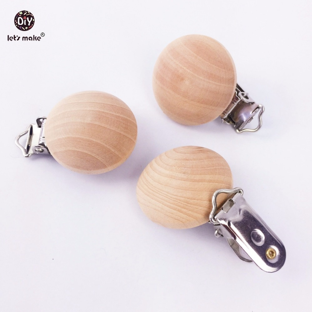 Lets Make Natural Wooden 10pc Pacifier Maple Metal Clips Holder Round Teether Teething Beads
