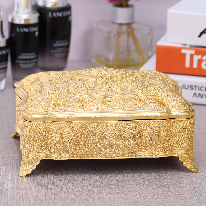 European antique tin metal jewelry box Cotton swab boxcotton pad holder make up storage storage bins table organizer Z147