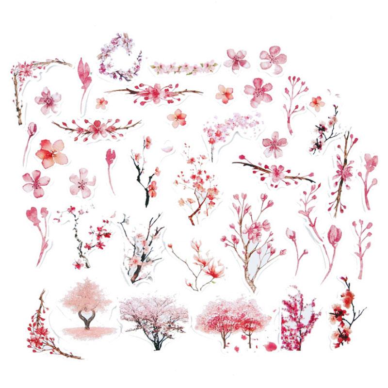 44 pcs/bag Pink flower adhesive paper sticker children diy Handmade Gift Card photo album Scrapbook diary decoration stickers