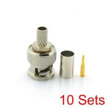 10x Bnc Male 3 In 1 Crimp Connector Voor RG59 Coaxkabel Koppeling Adapter