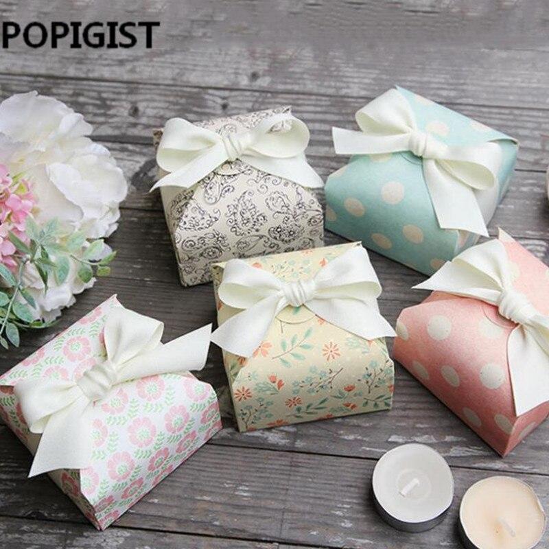 Caja de papel olka dot verde flor Rosa Paisley para decoraciones bolsas de papel para dulces caja de dulces decoraciones de boda hornear 50 Uds
