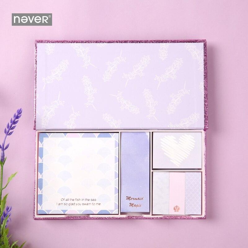 Nunca roxo série sereia kawaii bonito bloco de notas pegajosas conjunto planejador adesivos página bandeira decoração do escritório meninas presente papelaria