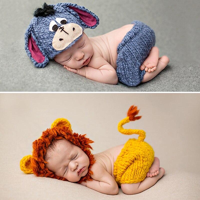 Tejido suave sombrero pantalones conjunto accesorios de ropa de bebé lindo Animal Bebe accesorios de fotografía recién nacido Lionet/Chick/Tiger 0-4 meses