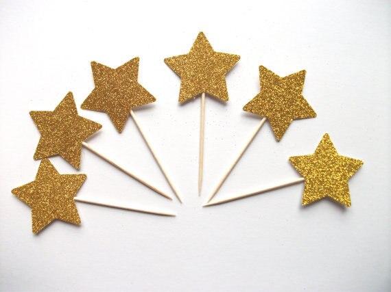 Brillo dorado estrellas Cupcake Toppers fiesta perfecta boda mondadientes para comida cumpleaños bebé ducha nupcial torta decoraciones