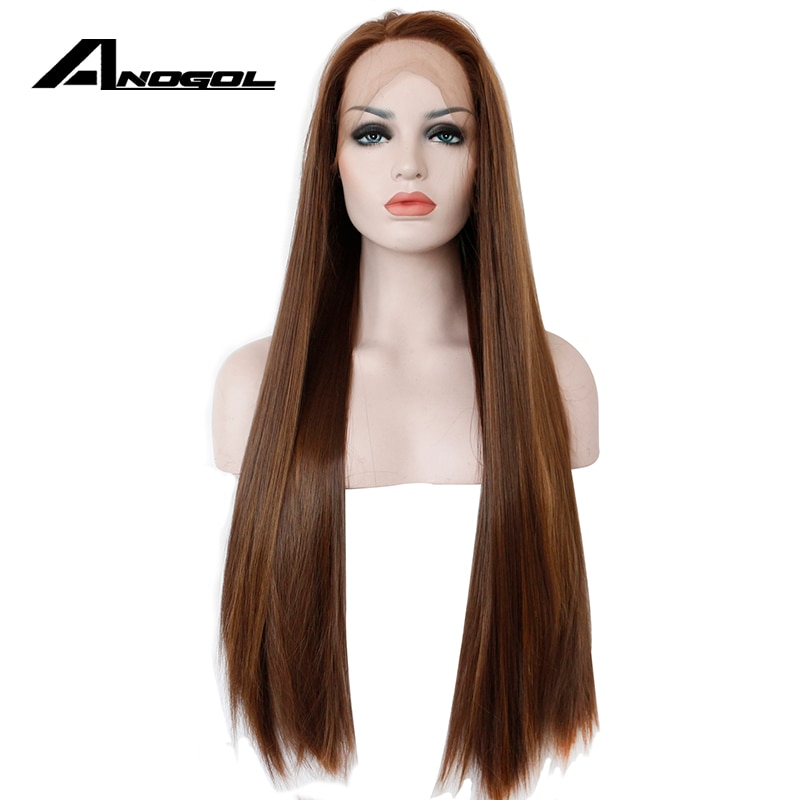 Anogol Dark Brown Lace Front Wig Natural Long Straight Glueless Synthetic High Temperature Heat Resistant Fiber Hair Women Wigs