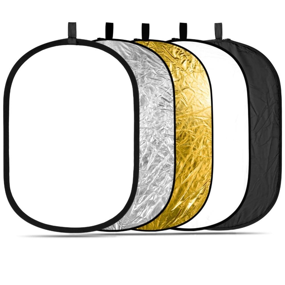 """60x90 cm (24 """"x 36"""") PRO 5-en-1 Reflector de iluminación fotográfica de estudio Oval plegable portátil Multi-disco de luz"""