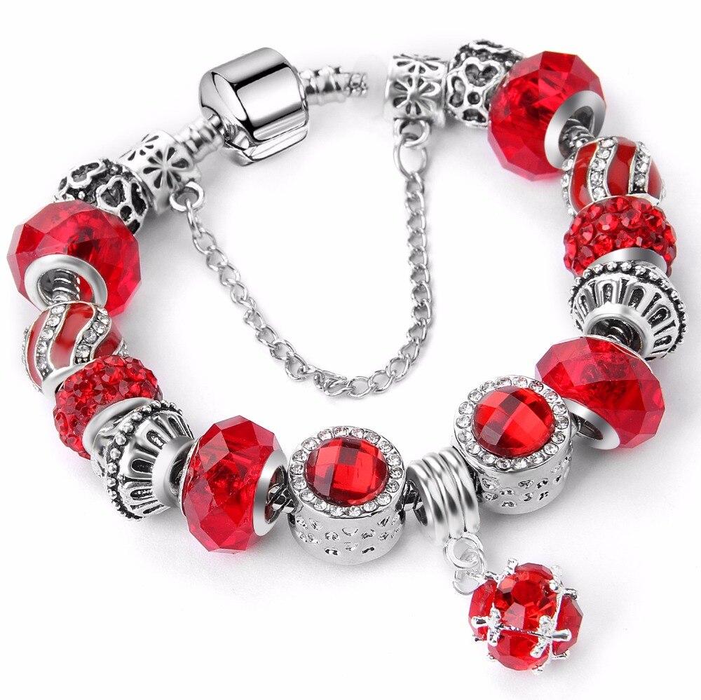 2020 nueva marca de lujo pulsera de cristal único bañado en plata Pulsera marca para mujeres finas pulseras y brazaletes joyería regalo