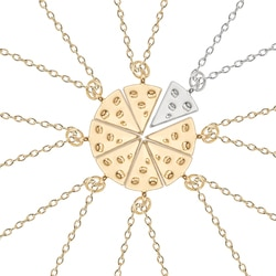 8 pçs pizza pingente colar amizade ouro e dois-cor colar melhor amigo para sempre bff colar popular jóias presente