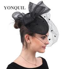 Black veilling dot fascinator for women elegant wedding hadwear with mesh headpiece hair clip or headband party chapeau caps