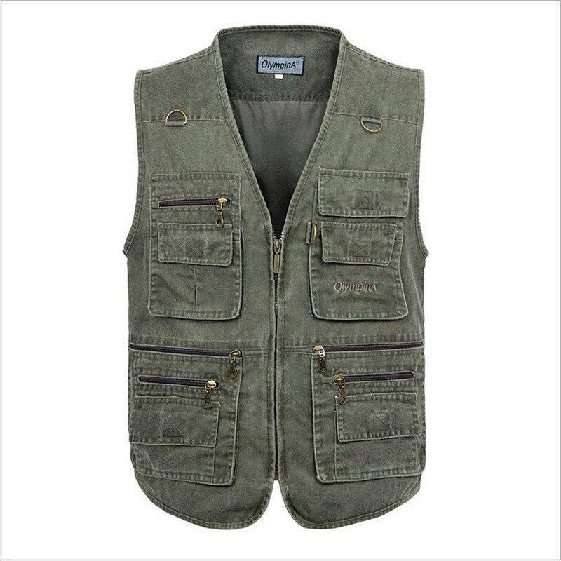 ¡Moda de verano 2019! Chaleco de lona para hombre con muchos bolsillos, chaleco informal sin mangas para hombre, chaleco Masculino Mv91061