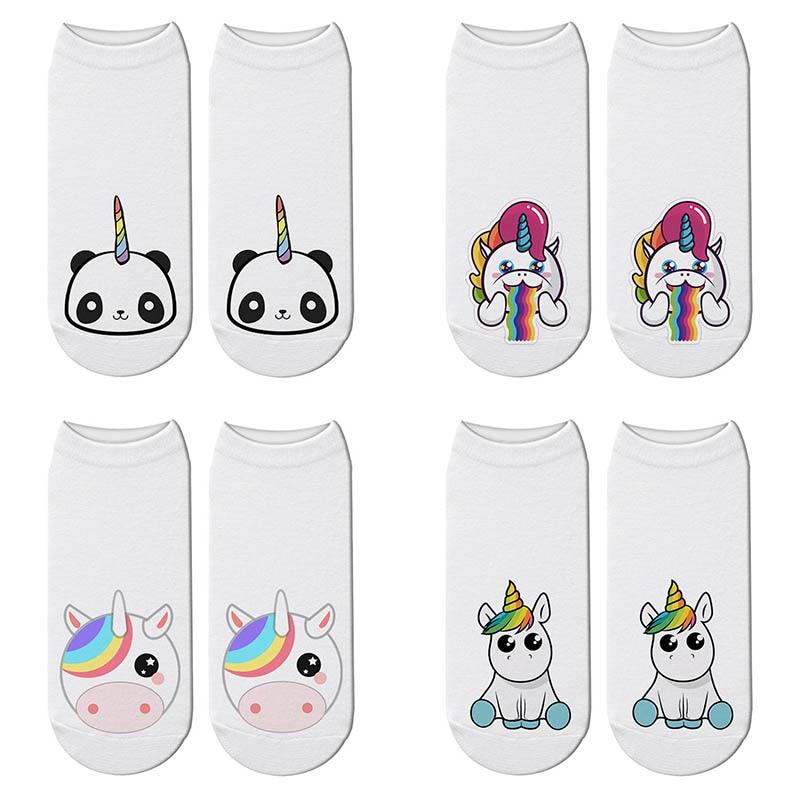 Novelty Cute Unicorn 3D Print Animals Socks Women Panda Ankle Licorne Chaussette Socks Breathable Short Art Funny Sox Gift недорого