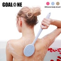 goalone silicone massage brush bath shower back scrubber soft exfoliating brush with long handle body brush bathroom accessories