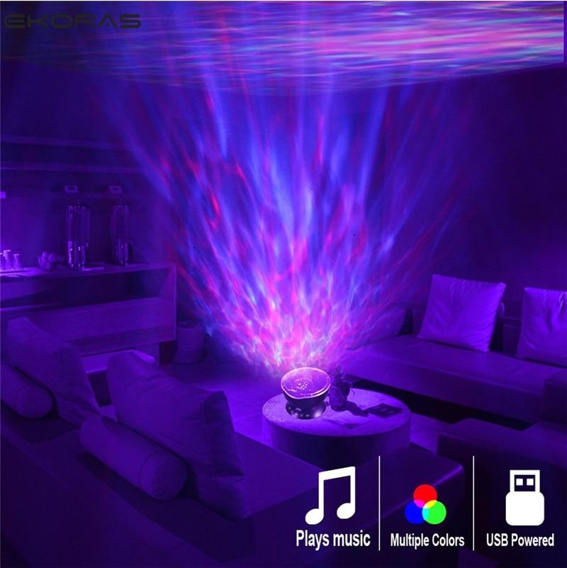 Океан волна проектор светодиодный ночник встроенный музыкальный плеер дистанционное управление 7 свет Космос Звезда Luminaria для детской спал...