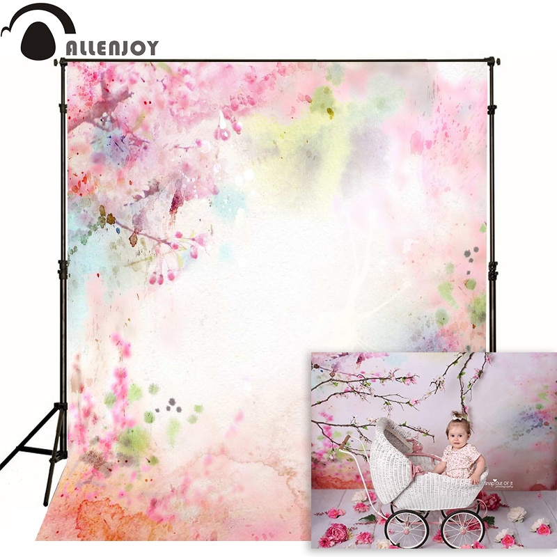 Allenjoy photography backdrops Watercolor pink hand-drawn fantasy photo background lovely newborn baby photocall spring flower allenjoy photography backdrops background stage dancers pink green bokeh watercolor baby shower newborn props spring princess