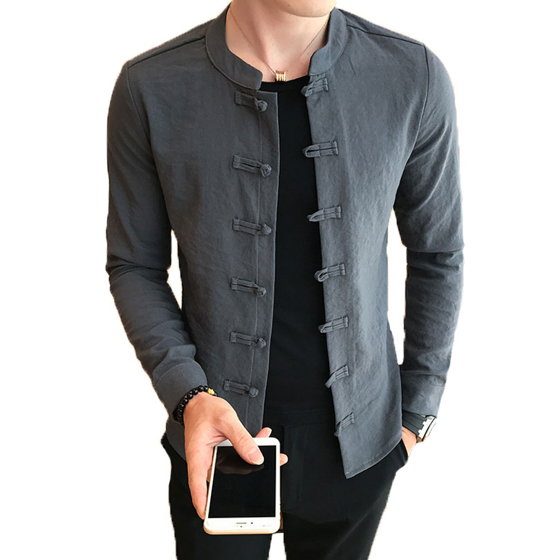 Loldeal, camisa de cuello chino, cuello mandarín, ajustada, Casual, camisa de taichí de Kung Fu, camisa negra de manga larga para hombres