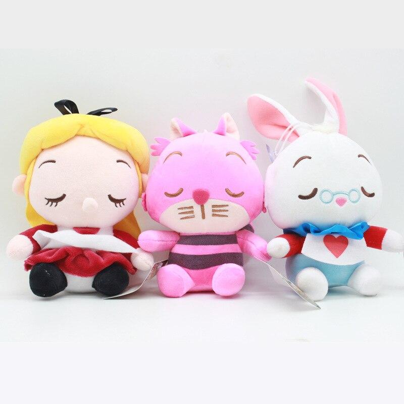 3 pçs/lote 20cm 2 Alice Alice No País Das Maravilhas Cheshire Cat Coelho Branco Macio Recheado de Brinquedos de Pelúcia Boneca Pingente para Presentes Das Crianças Dos Miúdos