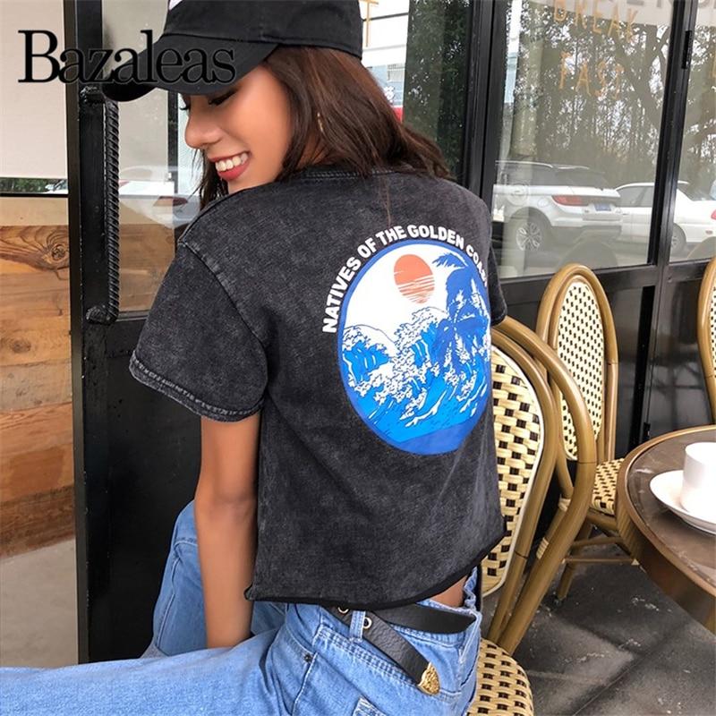 Bazaleas, Camiseta corta de tela vaquera negra, camiseta harajuku, camiseta Rippid de algodón, camiseta de manga corta con estampado redondo para mujer