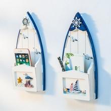 En bois bateau forme boîte aux lettres méditerranéenne tenture murale épicerie décoration supports de rangement créatif multi-fonction organisateur