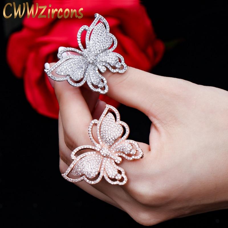 Cwwzircons marca de luxo micro pavimentar zircônia cúbica linda forma borboleta grande rosa ouro cor anel de casamento jóias para mulher r042
