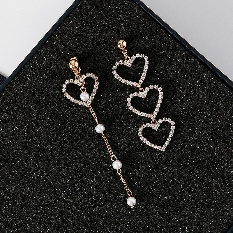 Новые корейские очаровательные жемчужные серьги с кисточками и кристаллами в форме сердца для женщин, модные асимметричные серьги-капли, роскошные ювелирные изделия