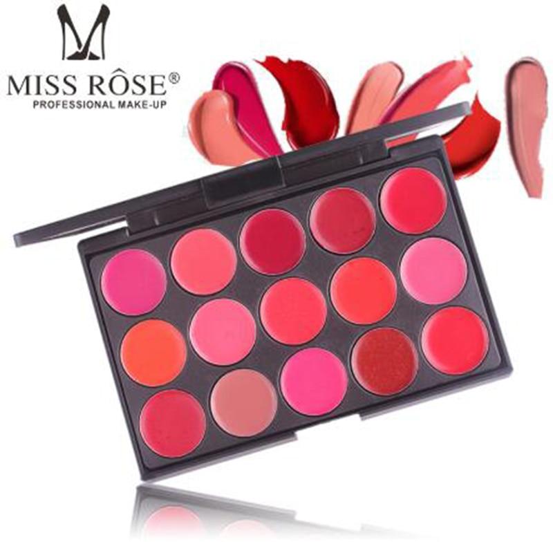 La srta. ROSE 15 color de lápiz labial tonto disco de disco montada brillo labial pasta maquillaje placa