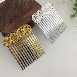 10 pçs 50mm metal cobre pentes de cabelo base ouro prata cor pentes de cabelo configuração para mulher jóias fazendo