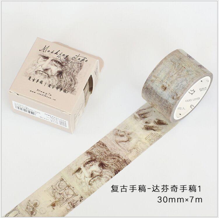 30mm Retro manuscrito Da Vinci arte dibujo diario de viaje cinta decorativa washi DIY planificador scrapbooking Cinta adhesiva escolar