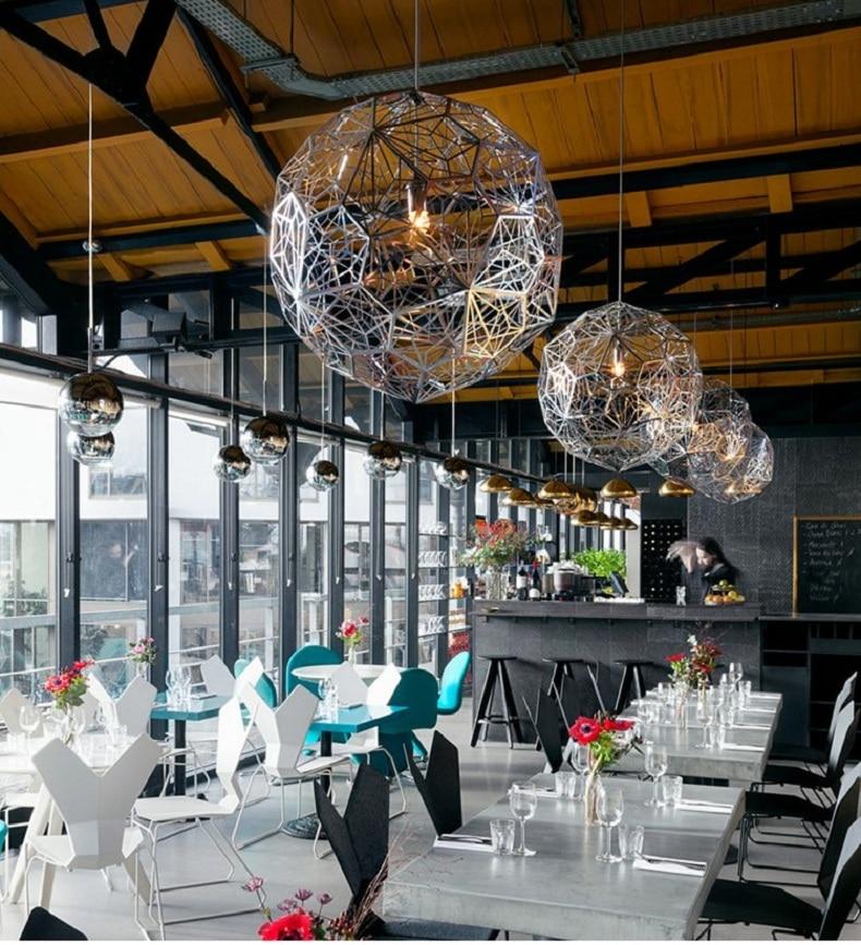 Candelabro moderno de acero inoxidable para sala de estar, candelabro de bola de diamante, candelabro de geometría irregular, AC85-265V