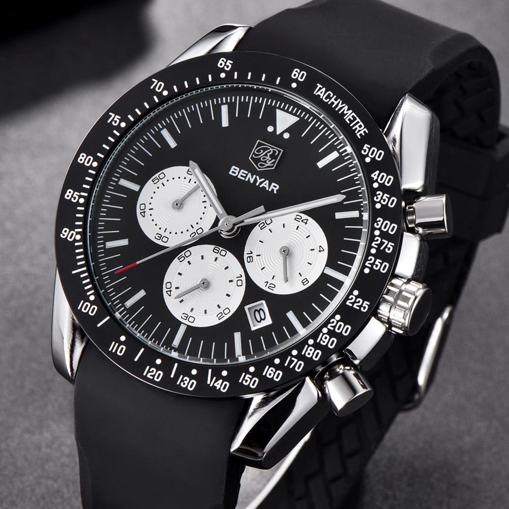 Reloj de cuarzo clásico de lujo de marca de moda BENYAR, reloj de hombre militar negro de silicona, grandes esferas, relojes deportivos para hombre, reloj Masculino
