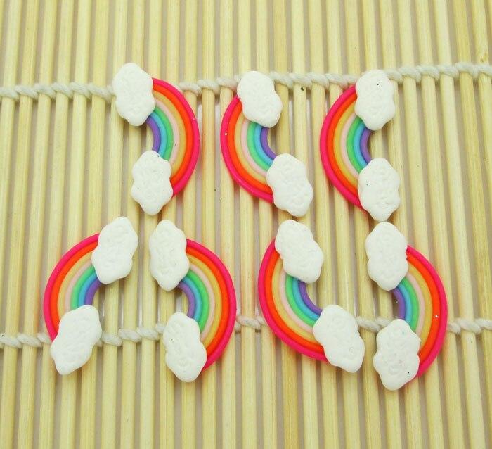 10Pcs Colorful Rainbow Clay Decoration Crafts Kawaii Bead Flatback Cabochon Fridge Magnet Scrapbook DIY Accessories Buttons