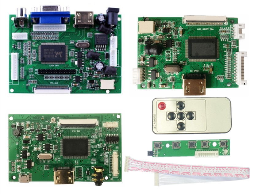 Carte contrôleur LCD TTL LVDS HDMI VGA 2AV 50 broches pour AT070TN90 92 94 20000938-00Support automatiquement carte pilote framboise Pi
