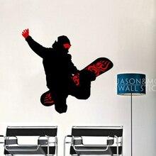 Planche de Snowboard pour hommes   Hiver, papier peint sport, autocollant Mural, Art vinyle Cool, chambre de garçons 60x65cm, décoration de la maison, noël