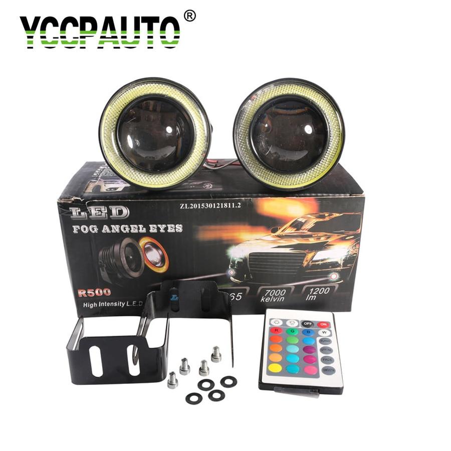 2Pcs Universal 3.5 3.0 2.5 inch RGB LED Fog Lights Waterproof COB Angle Eyes LED Lights For Auto Daytime Running lights DRL