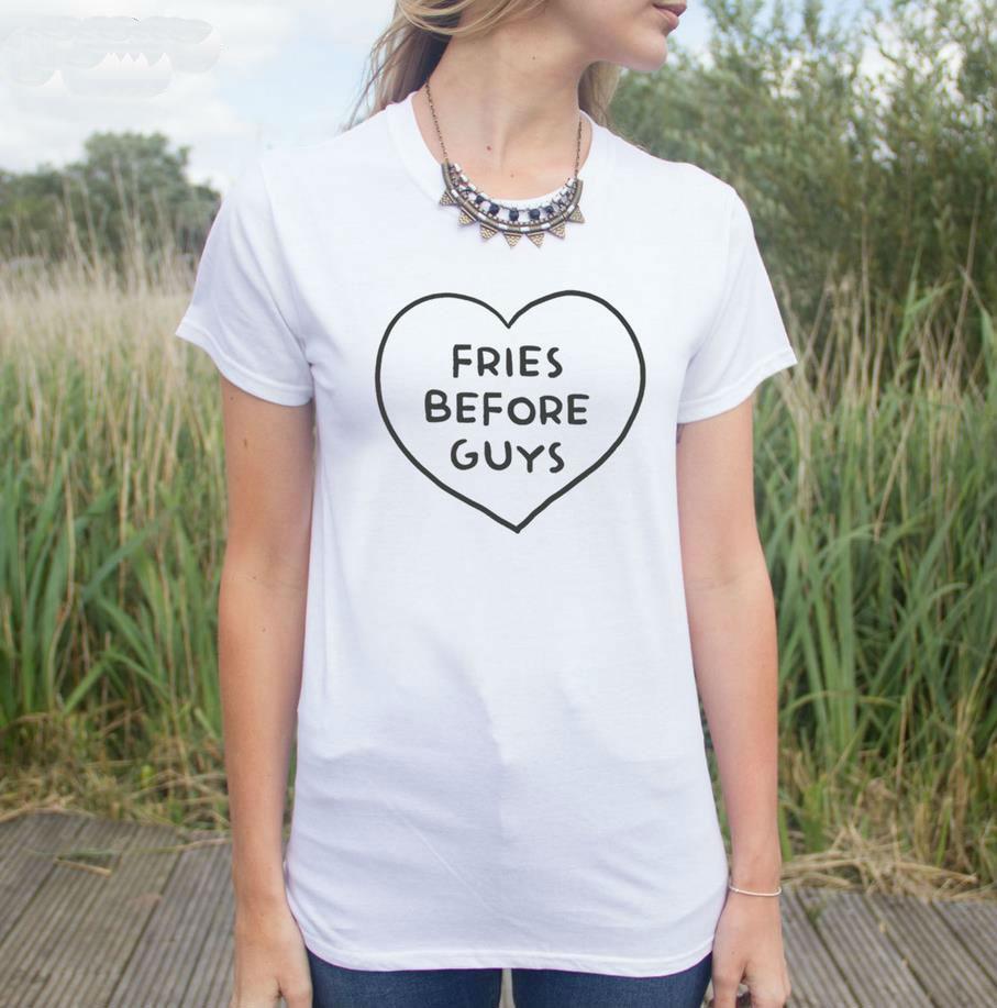 Camiseta Casual de algodón con estampado de Harajuku letras Fries Before Guys para mujer, camiseta negra blanca, camiseta Hipster de talla grande HH203-483