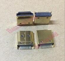 50 шт./лот HDMI штекер Jack/разъем 19PIN 19P 1,6 мм 180 градусов позолоченный