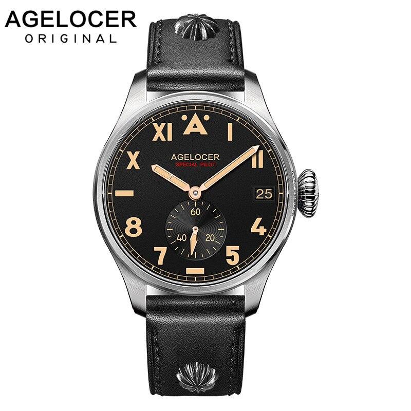 الأصلي AGELOCER العلامة التجارية الرجال أصيلة الطيار ساعة الذكور مكلفة Dive100M تاريخ السيارات في الهواء الطلق الرجال للصدمات مقاوم للماء ساعة
