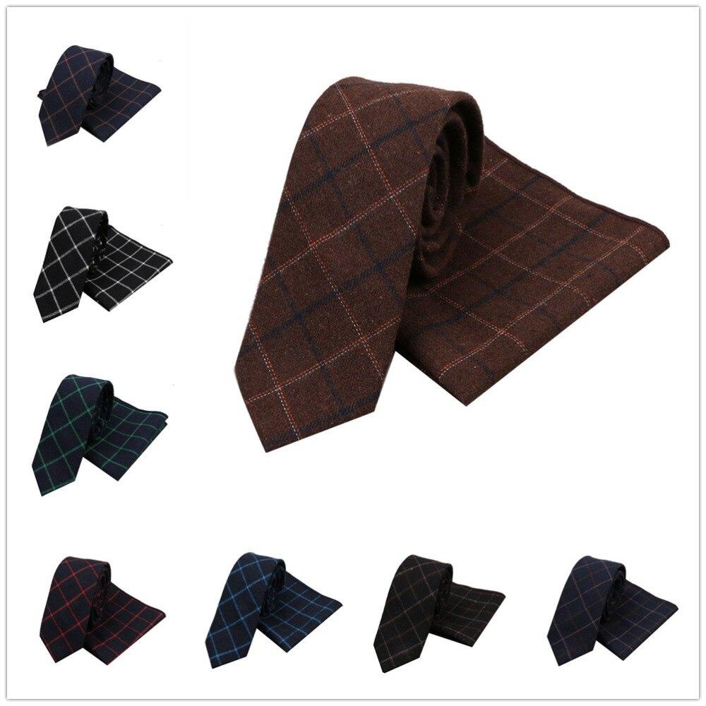 HOOYI Men Plaid Wool Neck Tie Set Gravata Slim Ties Pocket square Business Party Handkerchiefs