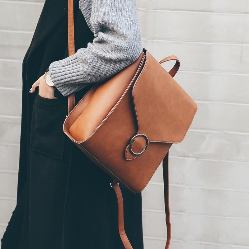 Fashion Women Backpack 2021 PU Leather Retro Female bag schoolbags Teenage Girl High Quality Travel books Rucksack Shoulder Bags