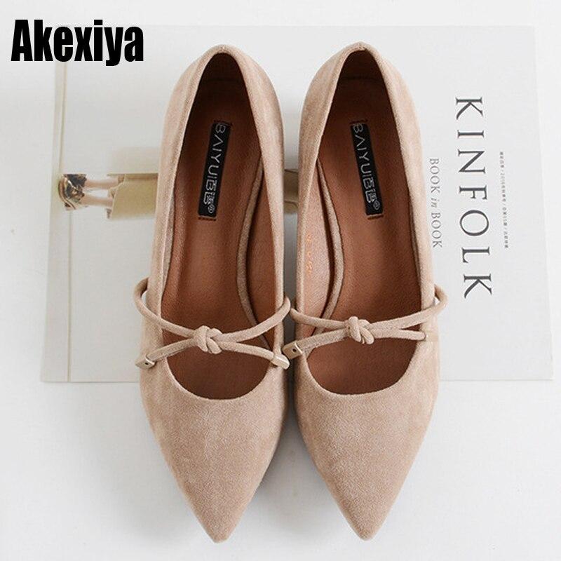 Zapatos de tacón alto Mujer 2019 primavera Slip On Square tals zapatos de mujer Flock Slingback zapatos de punta sólida zapatos de tacón para mujer f1018