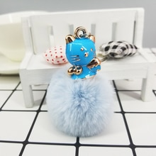 Cute Cat Pokemon Keyring Fur Pompom Ball Keychain Decoration Pendant Women Bags Car Keys Accessories Fashion Charms Party Favors