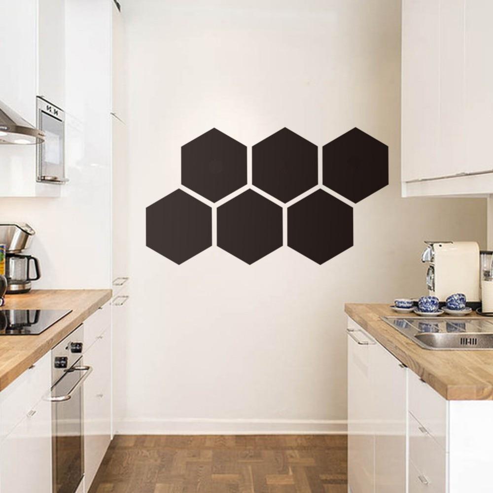 Pegatinas de pared de pizarra con forma de hexágono para sala de Estar, comedor, pizarra borrable, decoración del hogar, calcomanía, póster de vinilo extraíble